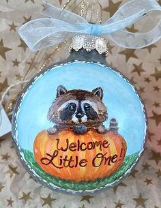 Baby Boy Ornament Blue Baby Raccoon Ornament by robynwarnedesigns #babyboy #1stchristmas #ornament