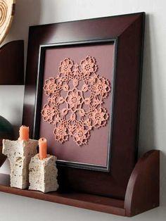 Crochet - Home & Kitchen - Pink Sunset Crochet Wall Art, Crochet Home, Crochet Rugs, Crochet Doily Patterns, Crochet Doilies, Framed Doilies, Doily Art, Doilies Crafts, Crochet Decoration