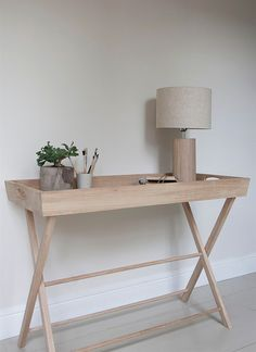 A large Raw Oak Butlers Tray, perfect as a console table