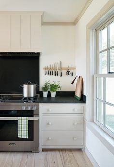 Classic white and black kitchen design with stainless steel appliances | Rafe Churchill