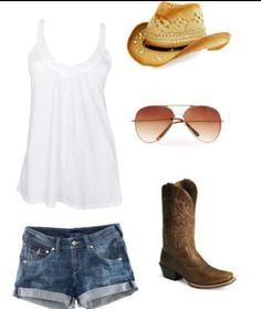 White tank with cute jean shorts perfect summer country outfit!!