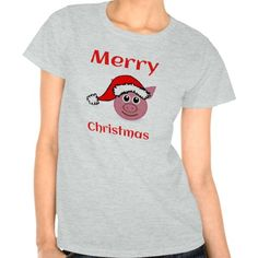 Merry Christmas Pink Pig Smiling Face