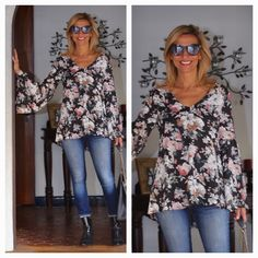 My look for today - wearing our Vintage floral top with bell sleeves, skinny jeans and booties - Get 10% off this top with code JS10 today plus free US shipping www.jacketsociety.com