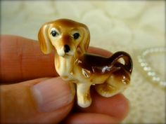 Miniature Porcelain Dachshund Dog Figurine