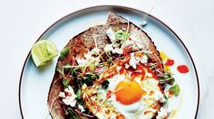 Chile-and-Olive-Oil-Fried Egg with Avocado and Sprouts Recipe | Bon Appetit