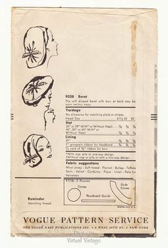 1950s Vogue Hat Pattern 9338 Sally Victor Beret Vintage Sewing Pattern – Nature Visions Boutique