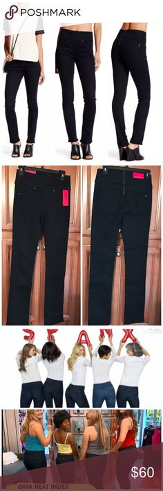 "NWT Spanx The Signature Straight  Slimming Jeans Slimming Jeans Very Black exclusive shaping waistband slims the tummy, trims love handles and puts a stop to muffin-top Triple Thread fabric technology is made with an extra stretch yarn to offer the ultimate comfort, recovery and body-contouring fit Back Zip Design Curve-contouring design and a gap free waist Innovativeconstructionâ€""slims thighs for lean legsv5 pocket design perfect rear pocket placement for a perky look in back Measurements…"