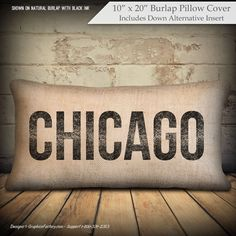 Items similar to personalized Chicago pillow, Chicago Ill. personalized pillow, burlap or cotton pillow, Burlap pillow - Chicago distressed - Insert Included on Etsy Personalized Pillows, Custom Pillows, Burlap Pillows, Throw Pillows, Dyi Crafts, Cotton Pillow, Pillow Covers, Chicago, Ink