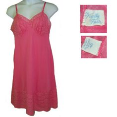 50s Vanity Fair full slip bright pink B40 large lace by pinehaven2 edc61626b