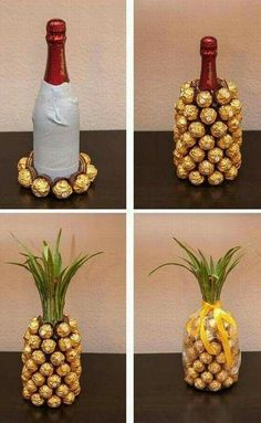 Wine and Chocolate pineapple. No instructions but pretty easy to figure out from pictures. Cool idea! #wine_bottle_covers