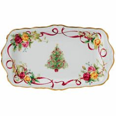 Royal Albert Old Country Roses Christmas Tree Sandwich Tray