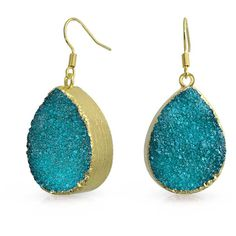 Bling Jewelry Bling Jewelry Yellow Gold Plated Blue Dyed Druzy Agate... ($14) ❤ liked on Polyvore featuring jewelry, earrings, aqua, tear drop earrings, long earrings, agate earrings, blue dangle earrings and blue agate earrings