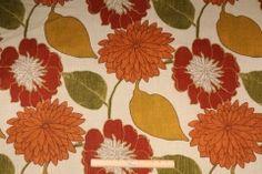 Richloom Emily Printed Linen Drapery Fabric in Russet $11.95 per yard