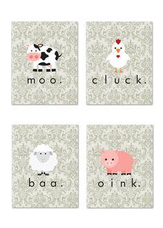 Adorable! Set of 4 5x7 art prints: Shabby Chic Farm Animals (nursery/child's room). via Etsy..