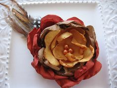 Fall fabric flower and feather hair clip or by GoldcoastChic