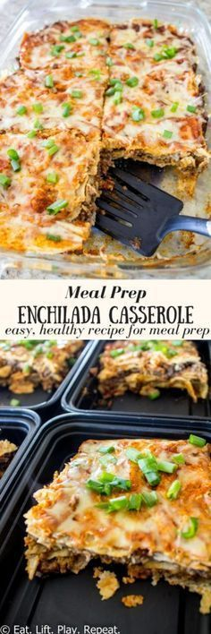This healthy enchilada casserole recipe is loaded with protein, healthy carbs and fiber! Serve alongside some roasted veggies or a side salad for a well balanced meal. Perfect for meal prep, this healthy recipe can be made in less than an hour! Pin now to try later!