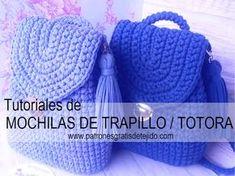 Como tejer mochila crochet en trapillo o totora a crochet
