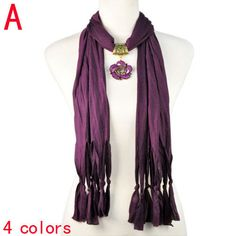 fashion purple christmas gift women long scarf with flower alloy charm,NL-1942A #Welldone #Scarf