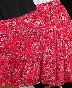 Adorable 1950's Red Bandana Cotton Print Circle by wearitagain