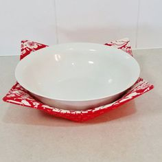 Microwave Bowl Holder (Reversable) in a crisp Red u0026 White floral print with matching print of White Circles on Red & Microwave Plate Holder Reversable in a by Handmadebypauline1 ...
