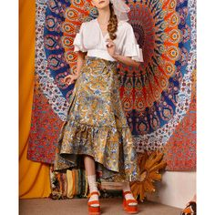 Fine Art Collection India Summer Golden Traditional Painting Floral... (£135) ❤ liked on Polyvore featuring grey, skirts, women's clothing and sash belt