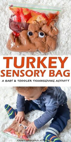 Turkey Sensory Bag - HAPPY TODDLER PLAYTIME Here is an fun and easy Thanksgiving sensory bag activity that you can easily set up for your baby or toddler. Thanksgiving Activities For Kids, Thanksgiving Baby, Autumn Activities, Thanksgiving Quotes, Thanksgiving Appetizers, Thanksgiving Outfit, Thanksgiving Decorations, Thanksgiving Recipes, Baby Sensory Play