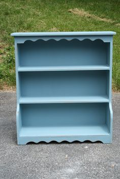 Primitive & Proper: scalloped pale blue bookcase