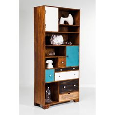 Meij Uffo solid wood Bookcase made in solid mango wood, It is easy to use and store things in 6 drawers of different sizes, 6 open shelves for statues, home decor product, and 2 doors. Solid Wood Furniture, Dining Room Furniture, Home Furniture, Wooden Sofa Set, Wood Beds, Kare Design, Wood Texture, Wood Colors, Open Shelving