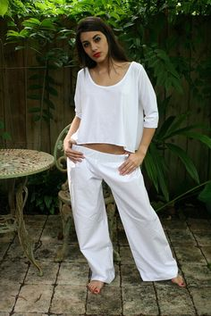 Low Rise Wide Leg Cotton Pajama Pant With Cropped Three Quarter Length Sleeve Cotton Knit Pajama Top