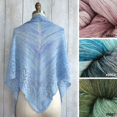 The Julian Shawl from Manos del Uruguay calls for one skein of Marina, a lightweight and luscious single ply laceweight yarn.