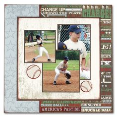 Baseball scrapbook page - love the layout!