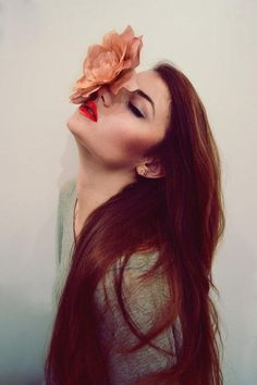 red hair with flower