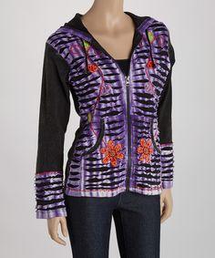 Purple & Black Floral Embroidered Hoodie by Rising International #zulily #zulilyfinds