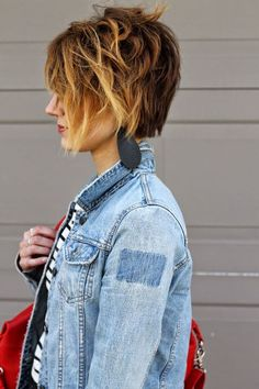 Stacked bob. Beautiful ombre pixie hair cut, can see asymmetrical cut from other angels in this post.