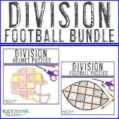 DIVISION Football Math Coloring Sheet Alternatives - Choose from 6 puzzles! | 3rd, 4th, 5th grade, Activities, Basic Operations, Games, Homeschool, Math, Math Centers, Mental Math