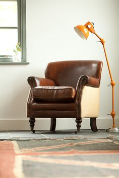 Vintage Leather and Linen Armchair, Rose and Grey