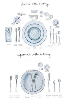 Formal and informal place settings infographic. Our simple diagram shows the proper table setting for casual and elegant occasions. How to place your dishes, glasses, silverware/cutlery and napkins for a beautiful table setting. Great for weddings, dinner Proper Table Setting, Table Place Settings, Beautiful Table Settings, Simple Table Setting, Everyday Table Settings, Easter Table Settings, Table Setting For Dinner, Formal Table Settings, Dining Table Settings