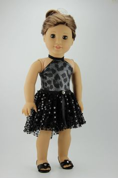 "American Girl doll clothes - Halter dress with high low tutu skirt (fits 18"" doll) (400gray)"