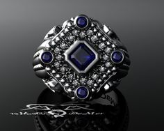1.34cttw diamond & sapphire grey/white and rose gold, mangagement ring. Antique black rhodium, vintage baroque. Royal House of Asscher mens by DeMerJewelry on Etsy https://www.etsy.com/listing/195900247/134cttw-diamond-sapphire-greywhite-and
