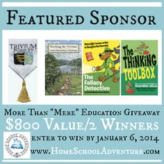 """Today's featured sponsor is  Trivium Pursuit! Trivium Pursuit donated 3 terrific books to our More Than """"Mere"""" Education giveaway: Teaching the Trivium, Fallacy Detective, and The Thinking Toolbox!  Visit the Trivium Pursuit website for information about these prizes:  http://triviumpursuit.com/"""
