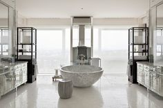 Intercontinental Geneva by Tony Chi Living Room Kitchen, Living Room Interior, Kitchen And Bath, Lobby Interior, Interior Architecture, Interior Design, Eclectic Bathroom, Spa Design, Luxury Homes Dream Houses