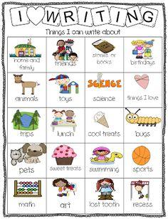 First Grade Wow: writer's workshop ideas chart
