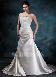 Wedding Dresses - $192.99 - A-Line/Princess Sweetheart Chapel Train Satin Wedding Dress With Ruffle Lace Beading (002000452) http://jjshouse.com/A-Line-Princess-Sweetheart-Chapel-Train-Satin-Wedding-Dress-With-Ruffle-Lace-Beading-002000452-g452