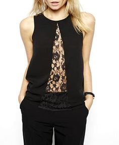 Lace Mesh See Through Sleeveless Chiffon Blouse
