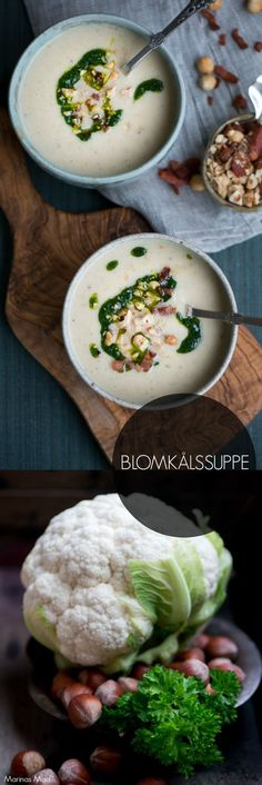 Recipe for cauliflower soup with bacon, nuts and parsley oil - Suppe