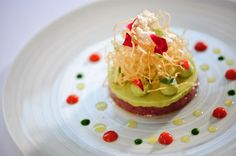 Photo of: Tuna tartare, avocado, creme fraiche, ketchup and basil oil, Pied à Terre, Central London restaurant