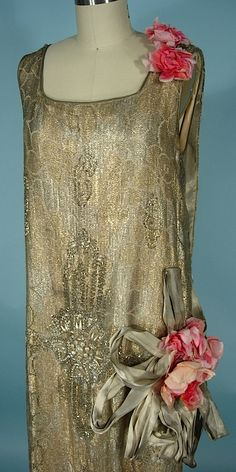 c. early 1920's RARE NUMBERED HOUSE OF REVILLE, Paris, London Flapper Dress of Gold Lame Lace and Beaded with Faux Pearls, Beads and Rhinestones with Huge Original Silk Flowers and Gold Lame Ribbons! London Court Dressmaker for Queen Mary and Many Society Women! Detail