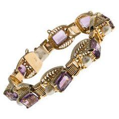 Retro Emerald Cut Amethyst Akoya Pearl Gold Bracelet