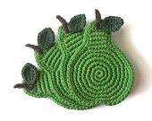 Green Pear Crochet Coasters . Fruit Decor Crochet Leaves Beverage Drink Juice Healthy Vegan Cup  - Set of 4