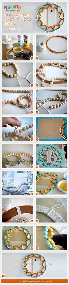 door wreaths made of wood beads